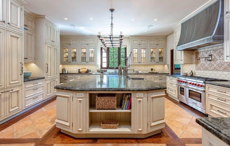 Kitchen of ultra-luxurious villa on N. Roxbury Drive